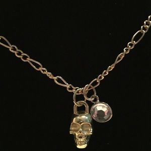 Jewelry - NWT skull and crystal gold tone necklace
